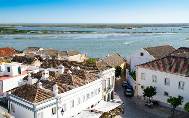 Uitzicht vanuit Faro over Ria Formosa