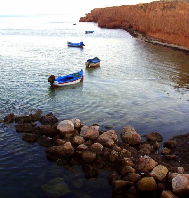 De lokale haven van Ajim op Djerba