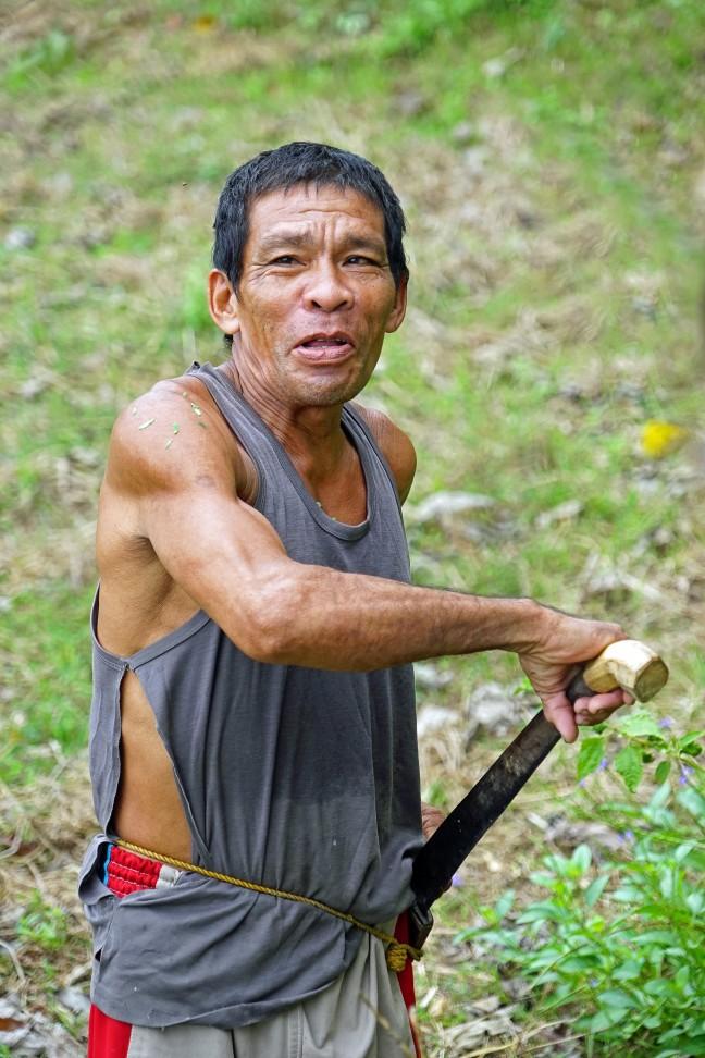 Filipijnse boer met machete of bolo