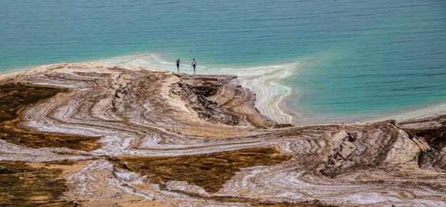 Zoutafzettingen aan de rand van De Dode Zee