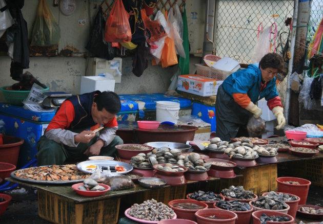 Visser op de schelp binden