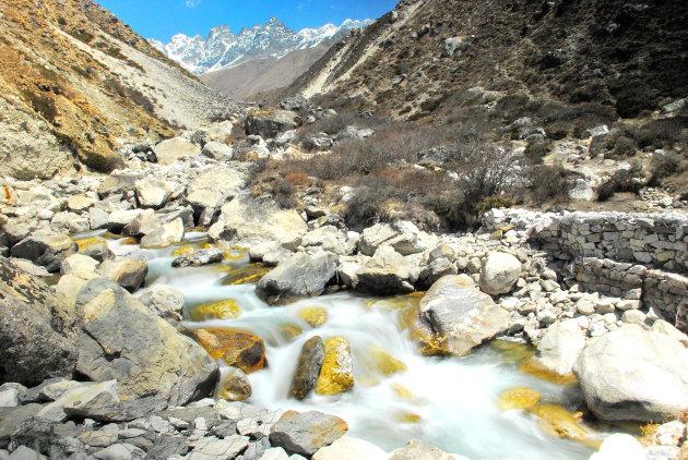 zie de schoonheid van de EBC trekking Nepal