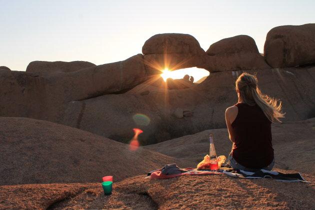 Enjoying the Sunset @ Rock Arch, Spitzkoppe, Namibia