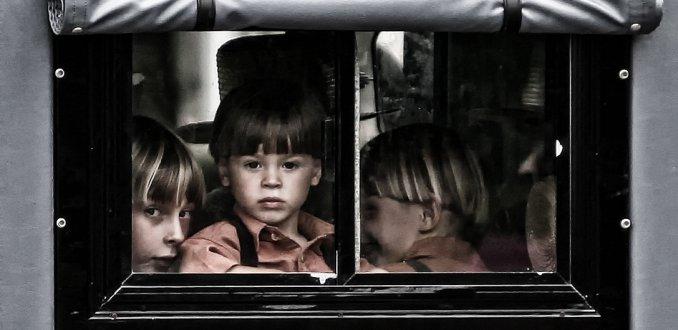 Amishjongetjes achterin paardenkoets