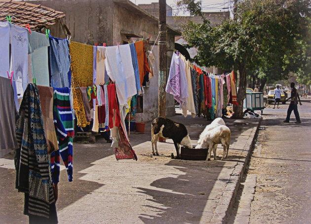 De was op straat nabij de haven naar Gorée