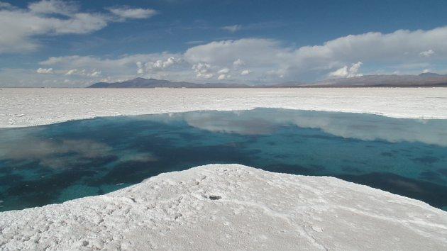 De zoutvlakte Salinas Grandes