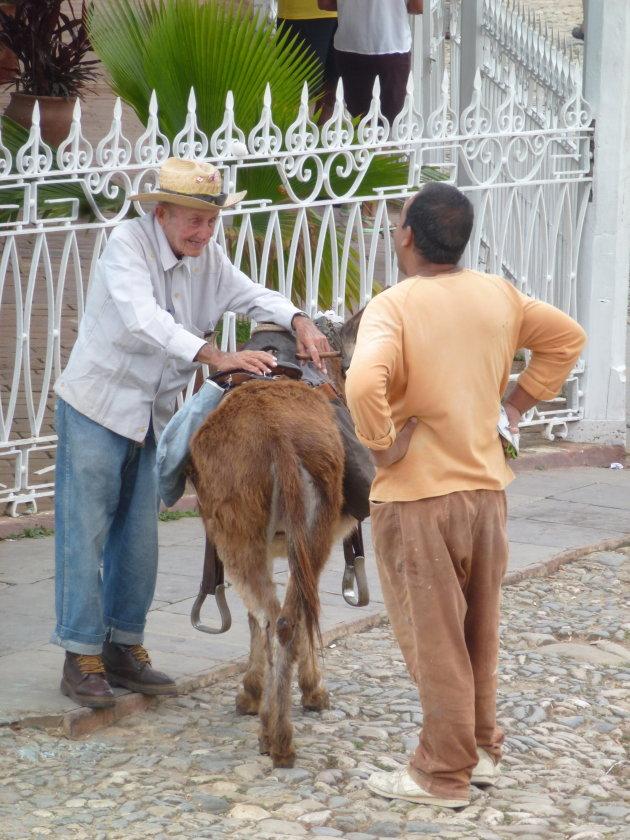 Oude Cubaan met sigaar en ezel