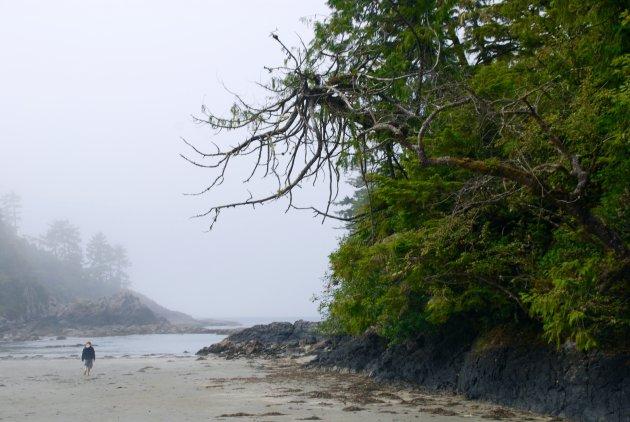 Struinen op het strand bij Tofino