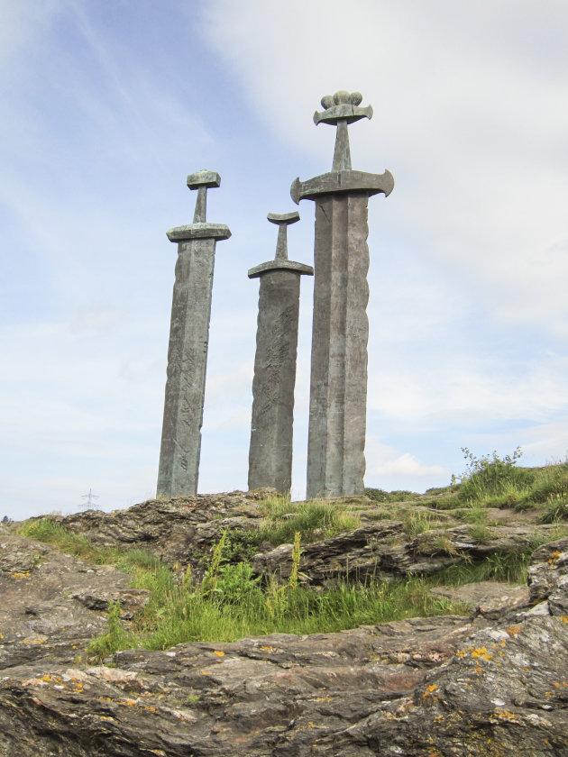 Prachtig herdenkingsmonument in het Hafrsfjord