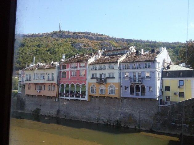 Kleurige huizen in Lovech, Bulgarije