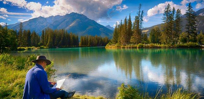 Chillen bij de Bow River in Banff