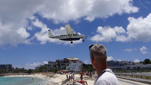 Sint Maarten, Maho Beach, vliegtuigen spotten