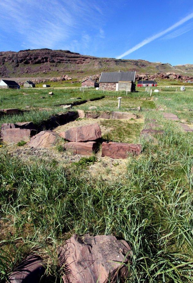 Garðar, hoofdstad van de Viking-nederzettingen op Groenland.