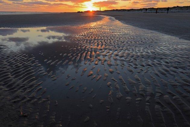 Zonsondergang op het strand van Blavand