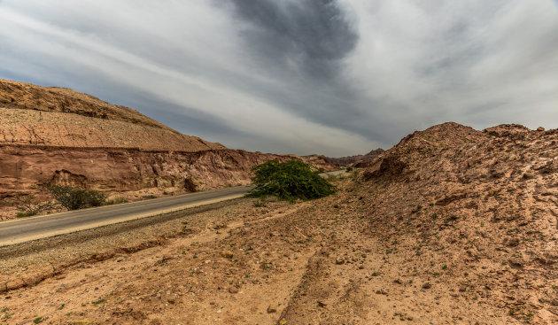 Rijden door het woestijngebied.