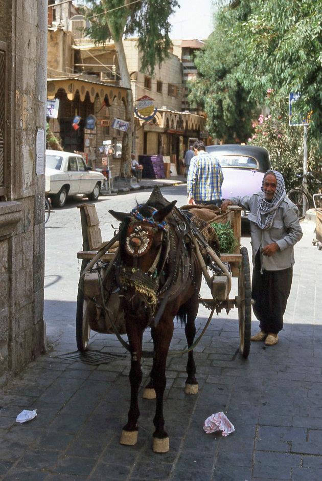 Met paard en wagen in de grote stad.