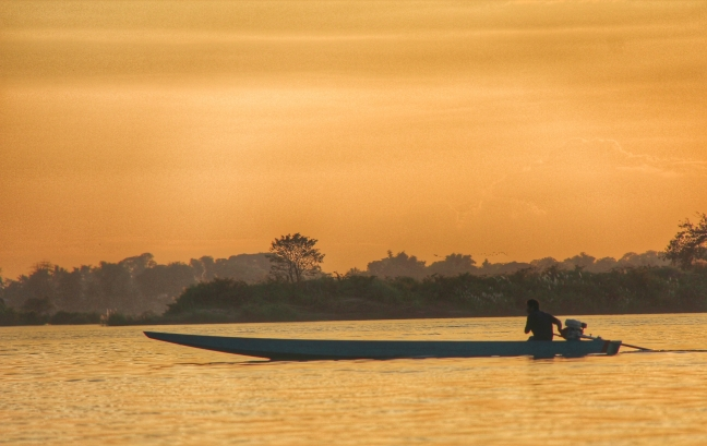 Zonsondergang op de Mekong