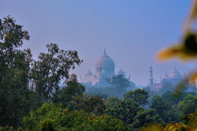 Krieken van de dag bij de Taj Mahal
