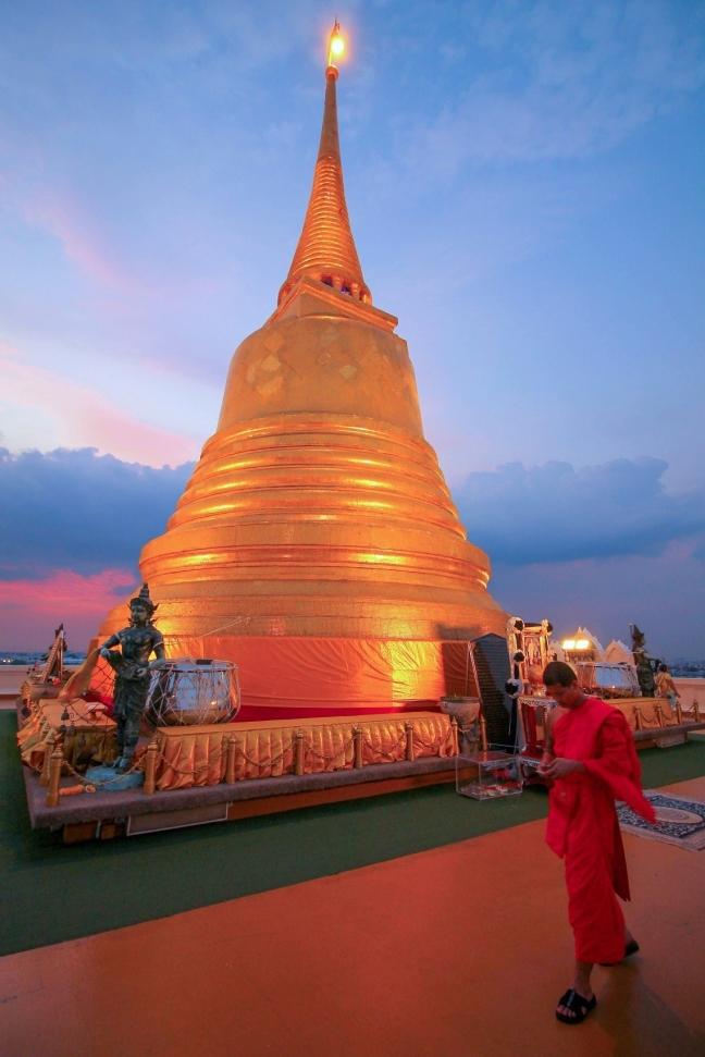 Bovenop de Golden Mount in Bangkok