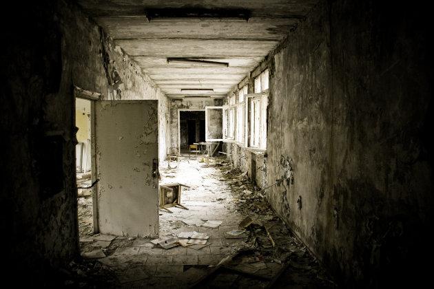 De verlaten stad Pripyat (Tsjernobyl)
