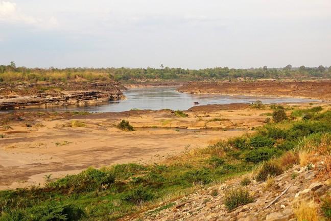 Laag water in de Mekong