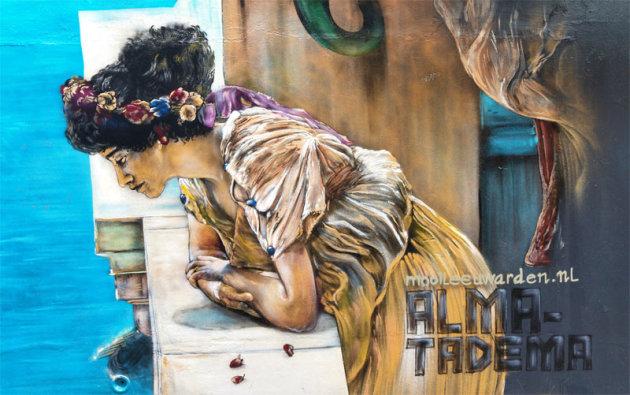 Een muurschildering van Alma Tadema
