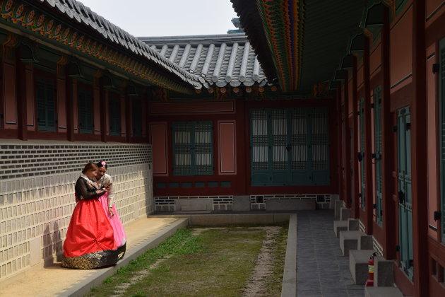 Chuseok (Zuid-Koreaanse thanksgiving) bij het Gyeongbokgung-paleis