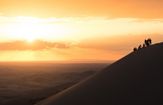 Zonsondergang op de top!