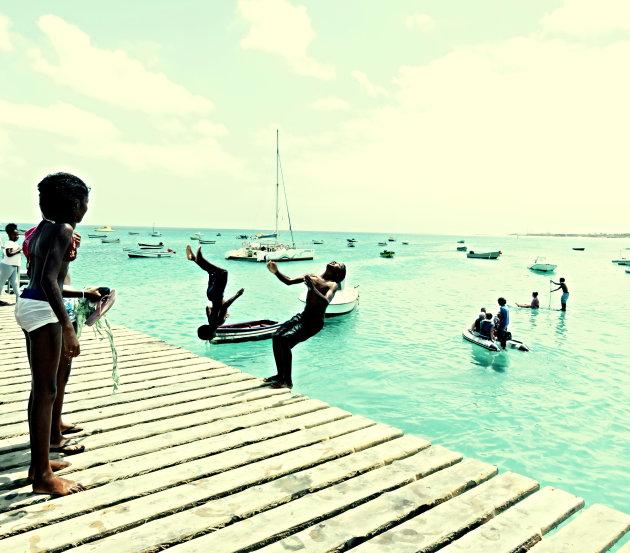 Dolle waterpret in Kaapverdië