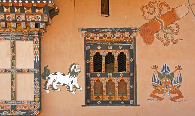 Muurkunst in Bhutan
