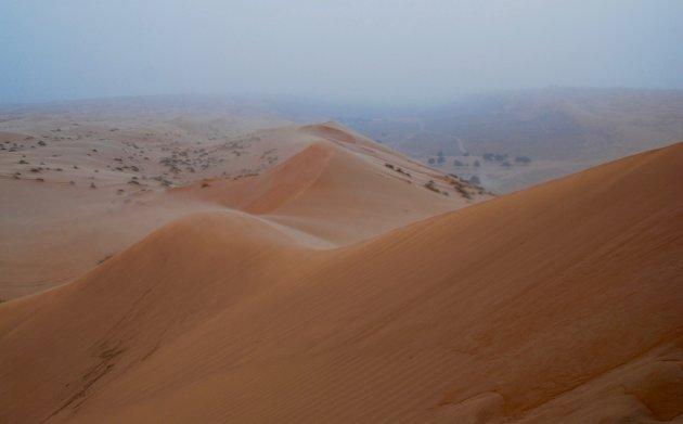 Zandstorm in de Wahiba Sands