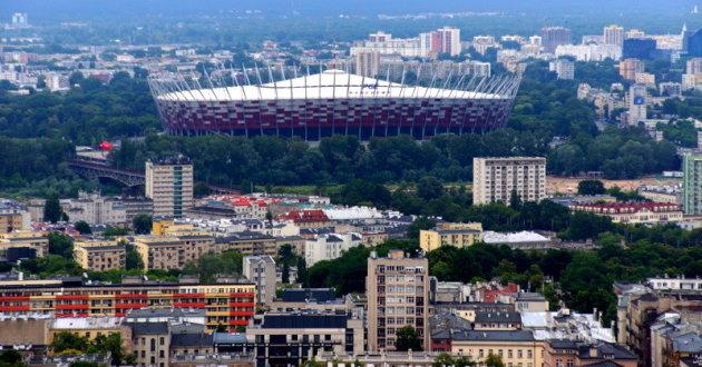 uitzicht op het voetbalstadion
