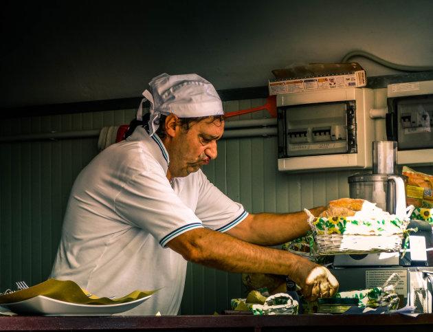 Portret van een chef in Genua