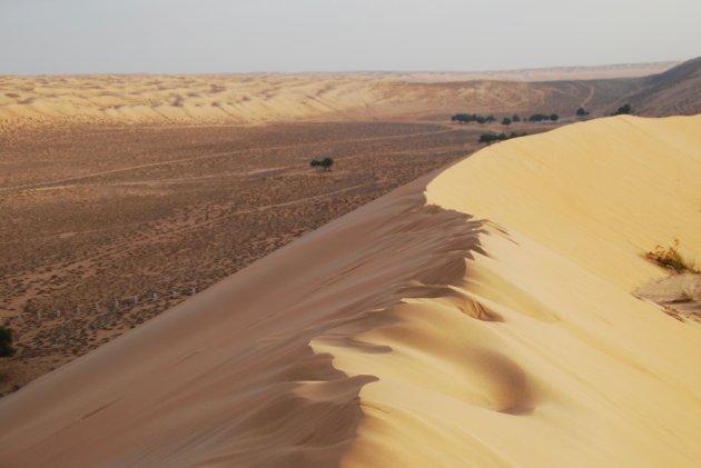 De eindeloze zandduinen in Oman