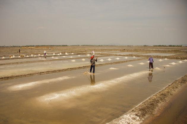 De zoutvelden bij Kampot