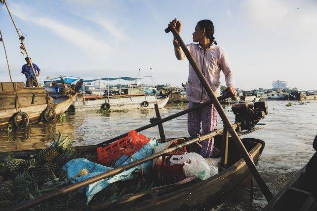 Drijvende markt van Can Tho