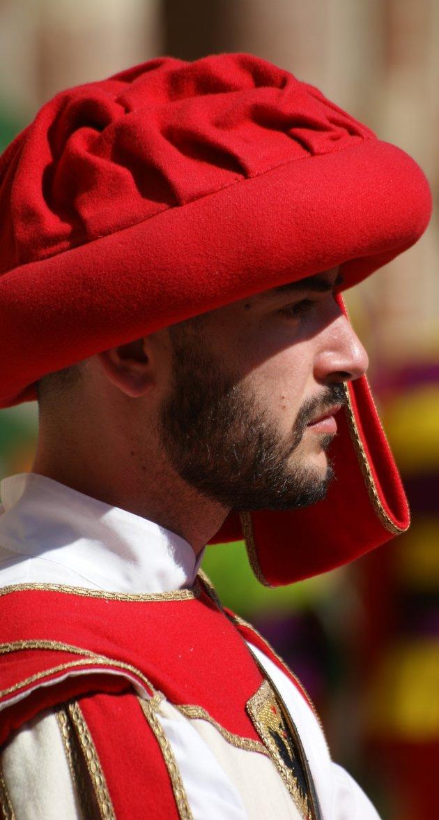 Middeleeuwse vaandeldrager in Asti
