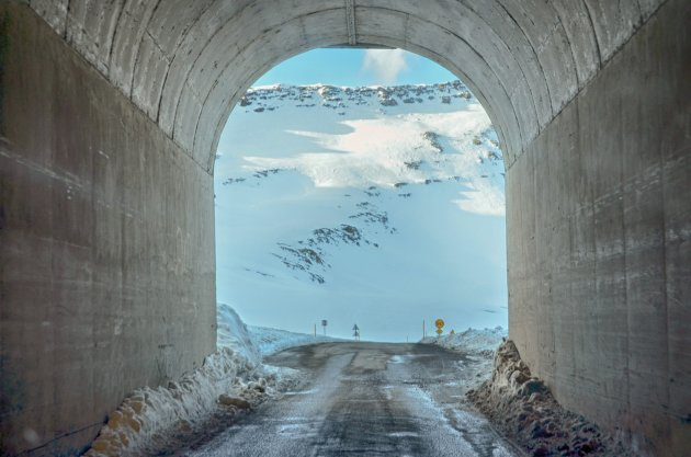 De historische eenbaans tunnel naar Neskaupstadur
