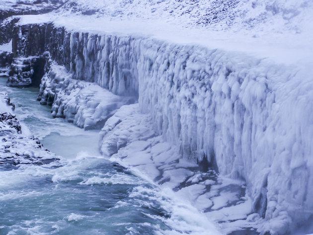 Bevroren waterval Gullfoss