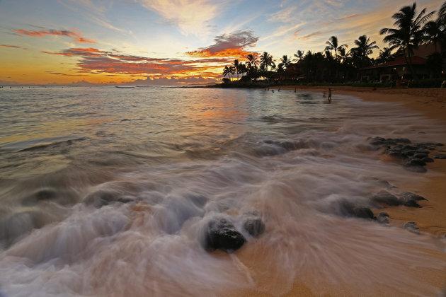 Ondergaande zon op Hawaii