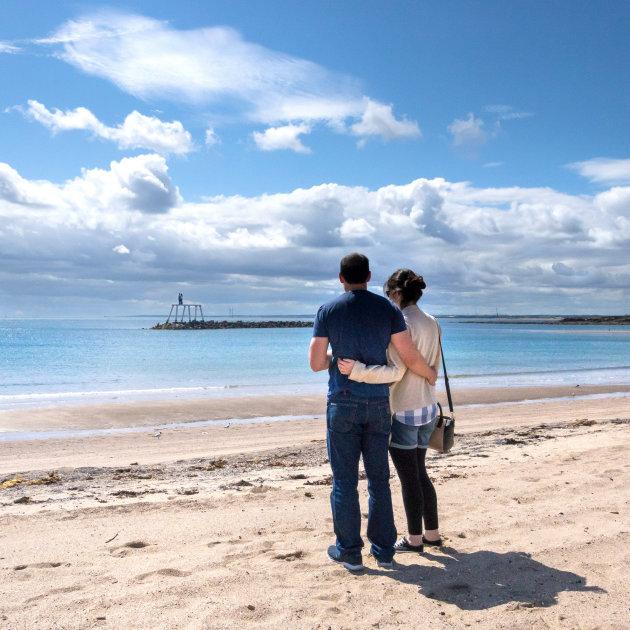 Het is zonnig in Newbigging-by-the-sea