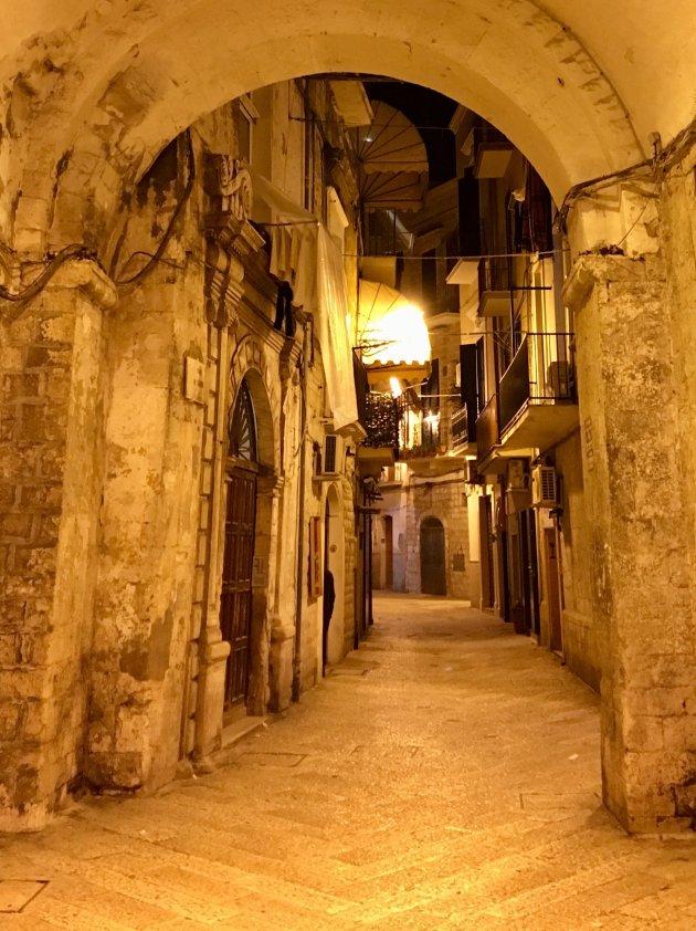 Bari vecchia at nighttime