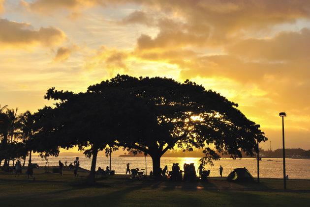 Zwoele avond in Honolulu