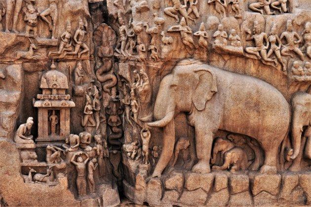 detail van Arjuna's Penance