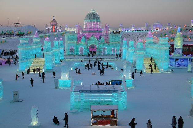 Een stad van ijs bij Harbin Snow&ice world!!