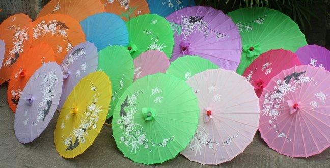 bonte verzameling paraplu's