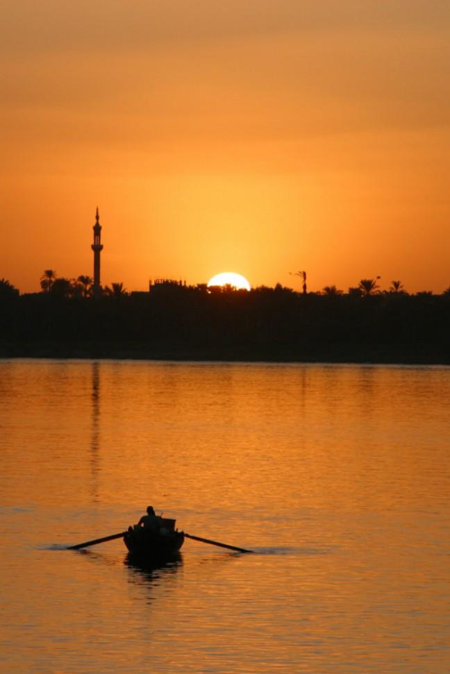 Zonsondergang op de Nijl