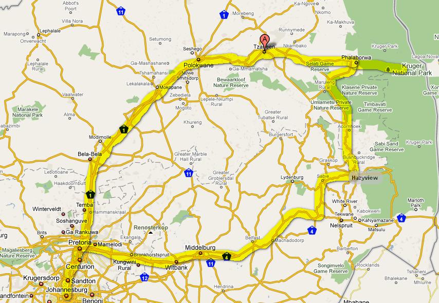Route Johannesburg, Tzaneen, Krugerpark, hazyview, Pretoria