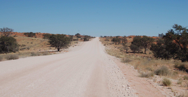 Schitterende weg tussen de Kalahari duinen door