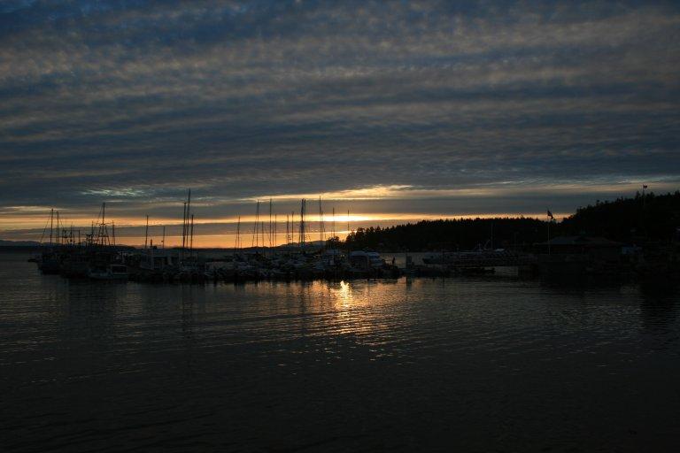 De haven van Lund, ook bij zons ondergang
